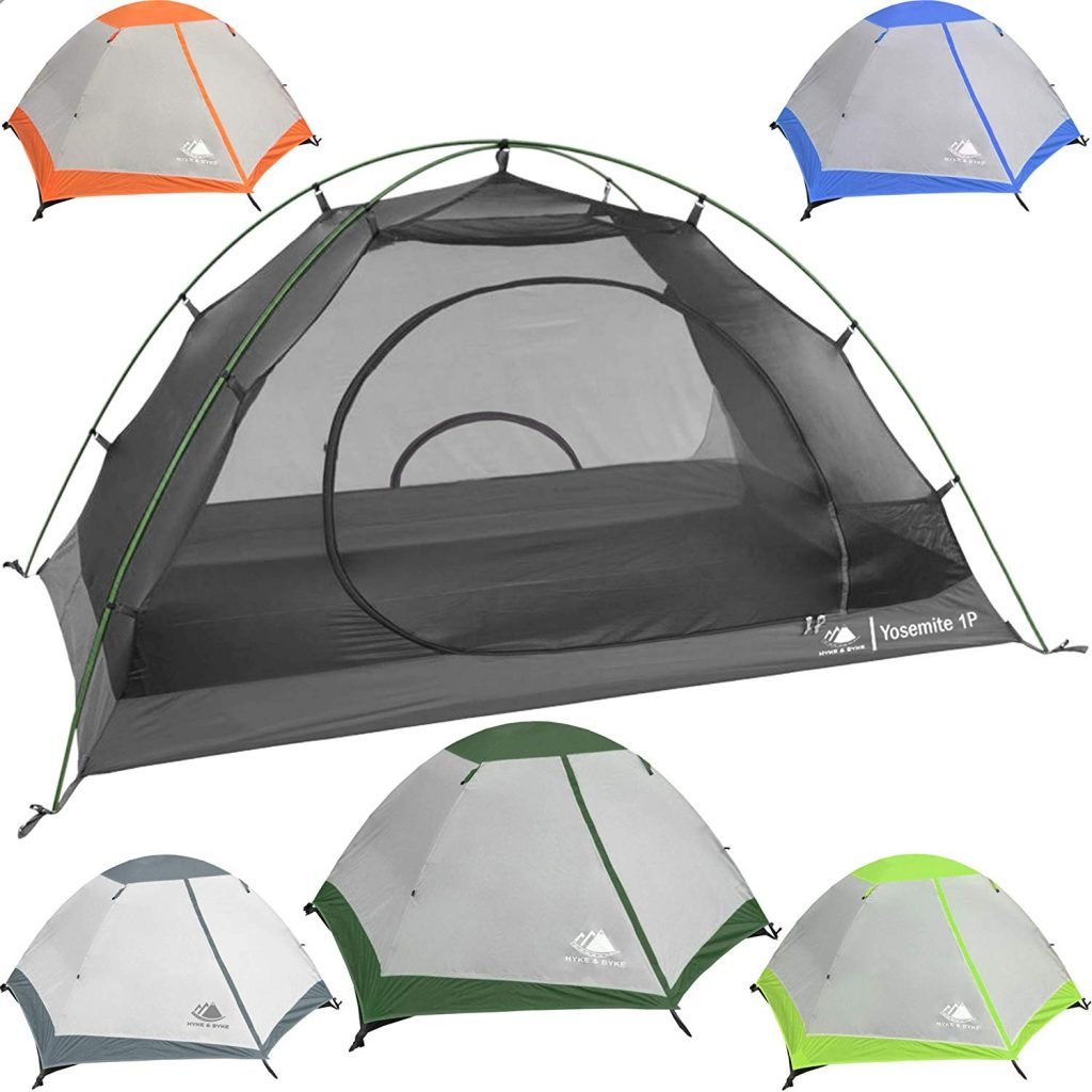 Hyke & Byke Yosemite 1 and 2 Person Backpacking Tents with Footprint - Lightweight Two Door Ultralight Dome Camping Tent